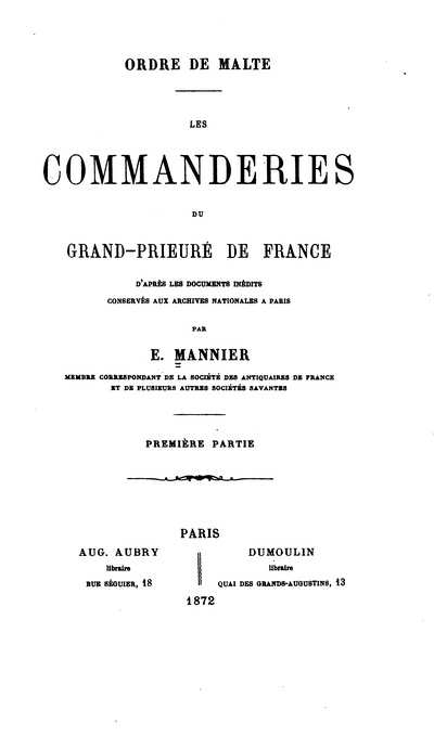 Les commanderies du Grand-Prieuré de France