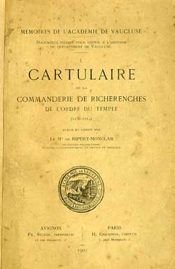 Le Cartulaire de la commanderie de Richerenches