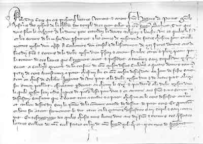 lettre de Frère Hugues de Peraud